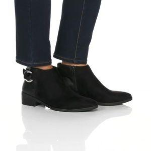 Polished Snakeskin Embossed Detail Block Heel Boot